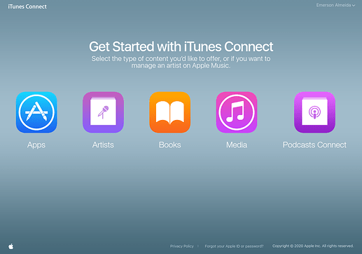 Tela inicial do iTunes Connect